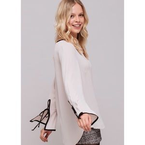 Pleione Bow Knot Tipped Split Cuff Blouse S